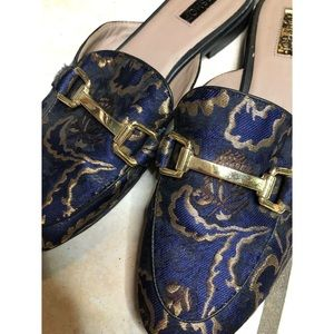 Topshop blue and gold brocade mules size 39